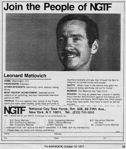 """Leonard Matlovich"" ""National Gay and Lesbian Task Force"" NGLTF"